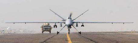 An MQ-9 Reaper takes off in Afghanistan (Air Force photo)