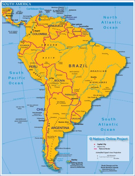 South America map courtesy of Nations Online Project
