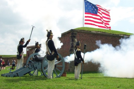 Re-enactors defend Fort McHenry, Maryland. (Photo by National Park Service)