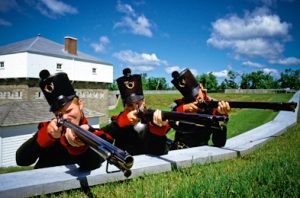 Re-enactors defending Fort Wellington, Canada. (Photo by Parks Canada)