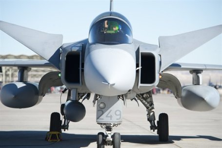 The Saab JAS-39 Grippen is one of the fighter aircraft Brazil is considering buying to modernize its airfleet. (U.S. Air Force photo by Lawrence Crespo)