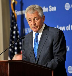 Former Sen. Chuck Hagel speaking in 2012. (Defense Dept. Photo by Glenn Fawcett)