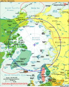 The Arctic Circle and surrounding territory.