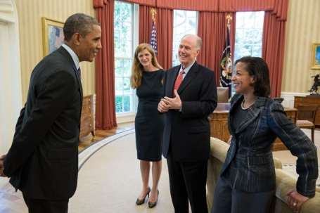 President Barack Obama talks with, from left, Samantha Power, former Senior Director for Multilateral Affairs and Human Rights, National Security Advisor Tom Donilon, and Ambassador Susan Rice. (Official White House Photo by Pete Souza)
