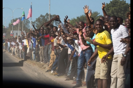 Crowds watch President Obama's motorcade in Tanzania. (White House photo)