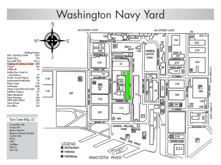 Navy Yard Map. Building 197, NAVSEA HQ is on the left below the compass rose.