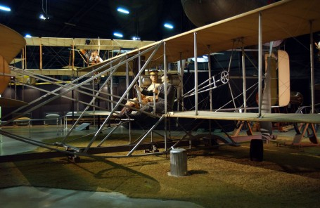 Wright 1909 Military Flyer in the Early Years Gallery at the National Museum of the United States Air Force.  This was the first U.S. military aircraft before there even was an Air Force. (U.S. Air Force photo)