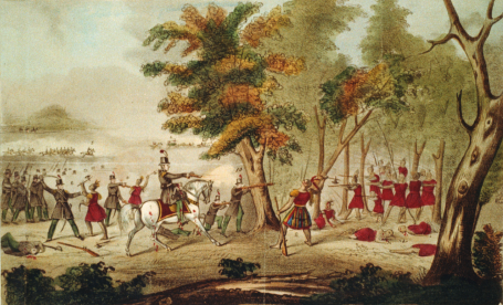 Death of Tecumseh at the Battle of the Thames in a 19th Century artist's rendering. Via Wikipedia
