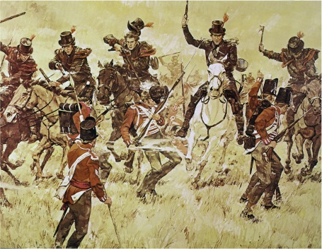 Kentucky Mounted Riflemen, led by Colonel Richard M. Johnson, charge the British line at Moraviantown (Courtesy Kentucky National Guard)