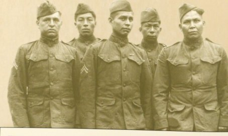 Choctaw Indian telephone squad Soldiers pose for a photo, in 1918.