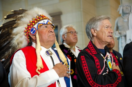 Wallace Coffey, chief of the Comanche Nation of Oklahoma, left, and Choctaw Nation of Oklahoma Chief Gregory Pyle stand during a ceremony in which their tribal citizens received the Congressional Gold Medal in Emancipation Hall at the Capitol in Washington, D.C., Nov. 20, 2013 (DoD photo by U.S. Army Staff Sgt. Sean K. Harp)