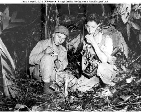 Corp. Henry Bake, Jr., and PFC. George H. Kirk, Navajos serving with a Marine Signal Unit in the Pacific War on the island of Bougainville in 1943. (Marine Corps photo)
