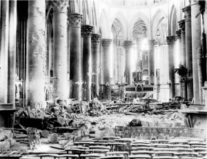 Rouen Cathedral damaged by bombing in 1944 (Photo Courtesy of National Archives and Records Administration -- via Robert Edsel's Blog)