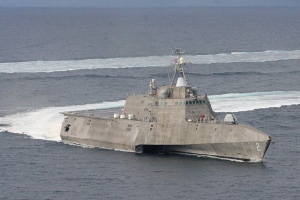 The USS Independence (LCS 2) off the coast of Southern California in 2012. The trimaran variant is built by Austal. (U.S. Navy photo by Lt. Jan Shultis)