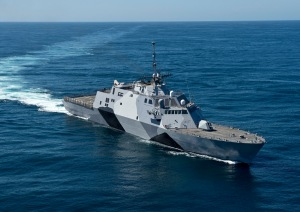 The Littoral Combat Ship USS Freedom (LCS 1) conducting sea trials off the coast of Southern California in 2013. The Freedom variant of LCS is built by Lockheed Martin.  (U.S. Navy photo by Mass Communication Specialist 1st Class James Evans)