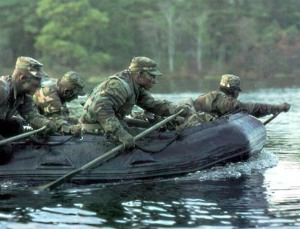 Air Force special tactics forces navigate their Zodiac