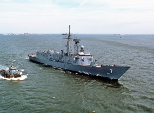 The initial version of the of the Oliver Hazard Perry- class  guided missile frigate (FFG-7). (1979 U.S. Navy file photo)