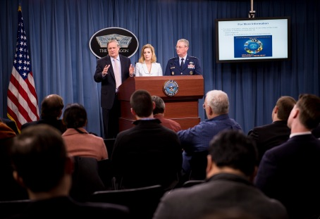 Defense Department officials brief reporters on the 2015 budget at the Pentagon. (Defense Dept. photo by Staff Sgt. Sean K. Harp)