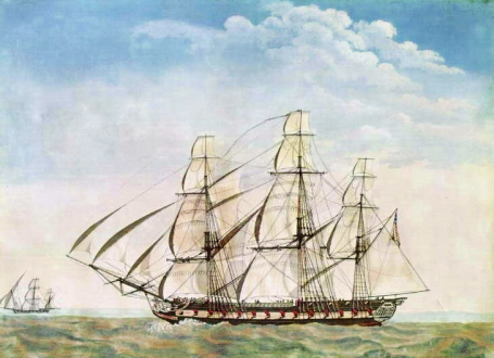 Frigate USS Essex in 1799 (U.S. Naval Academy Museum Collection via Wikipedia)