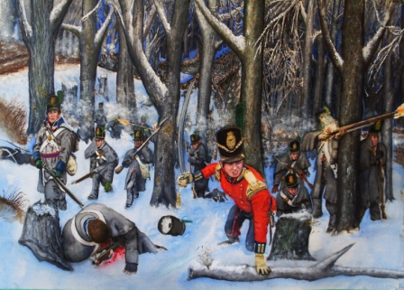 British-Canadian assault at Longwoods 1814. (Painting by James Mason)