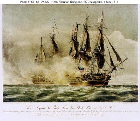 HMS Shannon takes the  American frigate, USS Chesapeake.