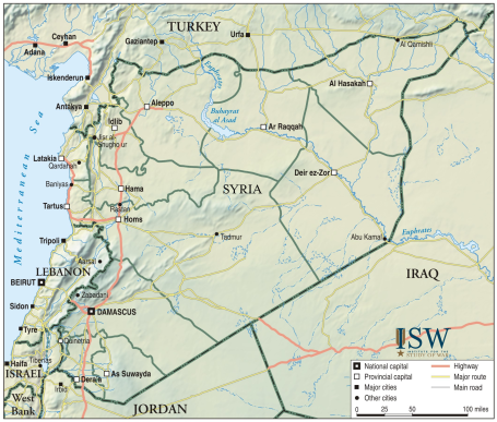 Map of Syria (Courtesy of the Institute for the Study of War)