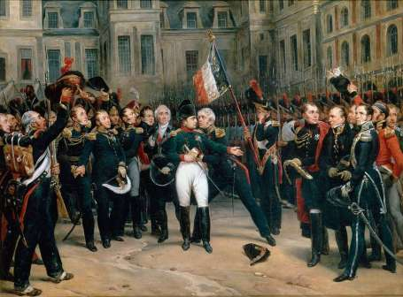 Napoleon bids farewell to the Old Guard (via Wikipedia)
