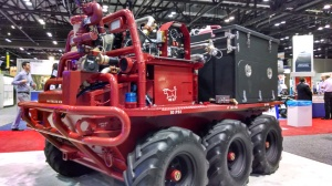 Lockheed Martin unveiled its commercial fire service variant of its Squad Mission Supply System robotic ground vehicle at AUVSI Unmanned Systems 2014. (4GWAR photo by John M. Doyle)
