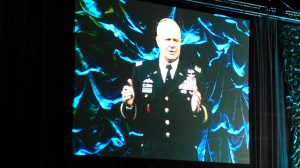 Lt. Gen. Kevin Mangum on the big screen at AUVSI. (4GWAR photo by John M. Doyle)