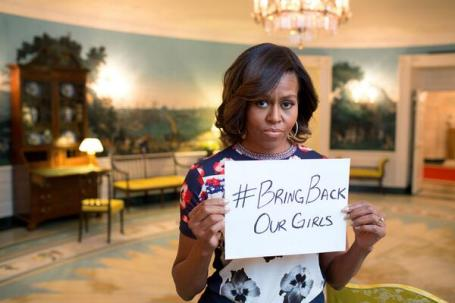 U.S. First Lady Michelle Obama joined the international Facebook and Twitter campaign to spur the return of kidnapped Nigerian schoolgirls. (White House photo)