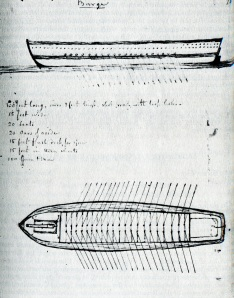 Commodore Barney's sketch of what the barges would look like. (Courtesy of Calvert  County Marine Museum)