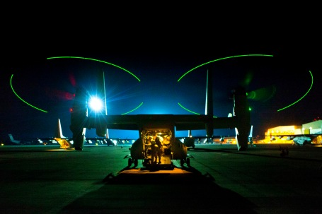 This MV-22B Osprey with the Special-Purpose Marine Air-Ground Task Force Crisis Response provided security for the evacuation of U.S. embassy personnel from Libya.  (U.S. Marine Corps photo by 1st Lt. Maida Kalic)
