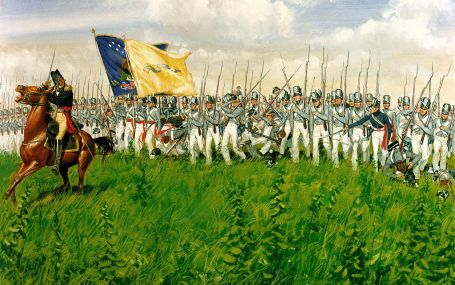 Brig. Gen. Winfield Scott leads his gray-clad brigade at the Battle of Chippawa. (U.S. Army Center of Military History)