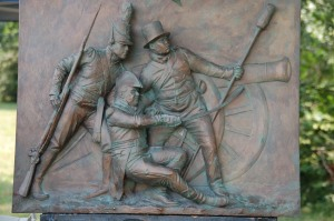 The recently unveiled Bladensburg Battle monument featuring (left to right) A U.S. Marine, Commodore Joshua Barney and Charles Bell, a freed slave and one of Barney's flotilla men. (DC War of 1812 blog)