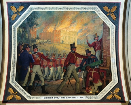 British burn the Capitol, a mural by Allyn Cox in the U.S. Capitol. (Photo: Architect of the Capitol via Wikipedia)