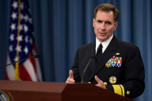 Pentagon Press Secretary Rear Adm. John Kirby reports on Kabul shootings at briefing in Washington.  (Defense Dept. photo  by Casper Manlangit)
