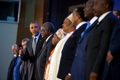 President Barack Obama poses for a group photo with African leaders at a three-day business forum in Washington. (White House photo)
