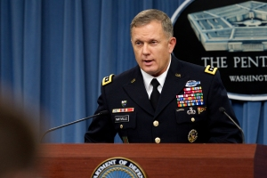 Army Lt. Gen. William Mayville Jr. details air strikes in Syria at a Pentagon press briefing Sept. 23. (Defense Dept. photo by Casper Manlangit)