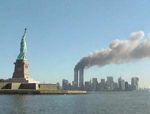 Burning World Trade Center towers Sept. 11, 2001 (National Park Service)