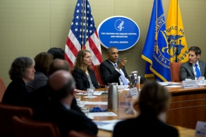 President Barack Obama convenes briefing on the Ebola virus at the Centers for Disease Control and Prevention in Atlanta, Georgia.  (White House Photo by Pete Souza)