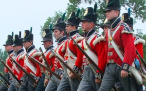 Historic re-enactors of British troops at Fort Erie. (Courtesy of Parks Canada)