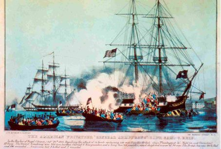 A Currier and Ives print of the British attack on the American privateer Gen. John Armstrong Sr.