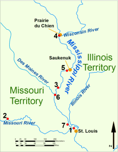 The Upper Mississippi River during the War of 1812. 1: Fort Bellefontaine U.S. headquarters; 2: Fort Osage, abandoned 1813; 3: Fort Madison, defeated 1813; 4: Fort Shelby, defeated 1814; 5: Battle of Rock Island Rapids, July 1814 and the Battle of Credit Island, Sept. 1814; 6: Fort Johnson, abandoned 1814; 7: Fort Cap au Gris and the Battle of the Sink Hole, May 1815. Map of the upper Mississippi River during the War of 1812 Key: 1: Fort Bellefontaine U.S. headquarters 2: Fort Osage, abandoned 1813 3: Fort Madison, defeated 1813 4: Fort Shelby, defeated 1814 5: Battle of Rock Island Rapids, July 1814 and the Battle of Credit Island, Sept. 1814 6: Fort Johnson, abandoned 1814 7: Fort Cap au Gris and the Battle of the Sink Hole, May 1815. (Map by Bill Whittaker via Wikipedia)
