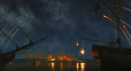 Bombardment of Fort McHenry by Peter Rindlisbacher (Courtesy of Royal Canadian Geographic Society/Parks Canada)