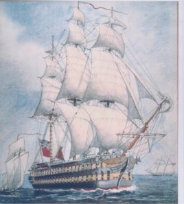 HMS St. Lawrence (Paining by C.H.J. Snider)