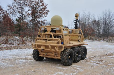 Lockheed Martin has experimented with cellular links, point-to-point radio, Wi-Fi and mesh networks to communicate with its Squad Mission Support System unmanned vehicle. (Photo courtesy Lockheed Martin)