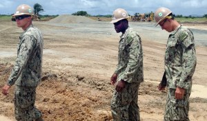 U.S. Navy combat engineers known as Seabees survey the site for an Ebola treatment unit in Liberia. (U.S. Army Africa photo by Command Sgt. Maj. Jeffery T. Stitzel)