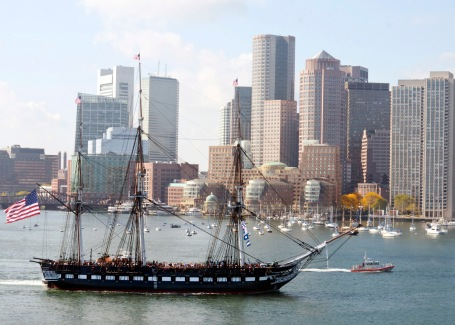 USS Constitution gets underway in Boston Harbor for the ship's 217th birthday cruise. This is Constitution's last scheduled cruise before entering dry dock in 2015 for three years of restoration work.  (U.S. Navy photo by Mass Communication Specialist 3rd Class Victoria Kinney)