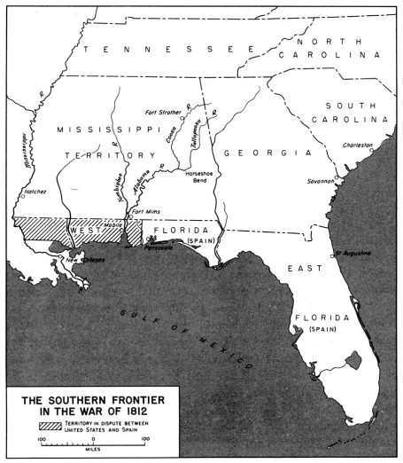 The Southern Frontier 1812-1815 (Map: U.S. Army Office of Military History)