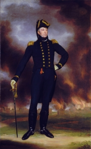 Rear Admiral Sir George Cockburn  (with Washington, DC afire in background)